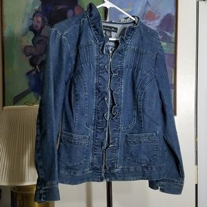 Ruffle Detail Zip Up Denim Jacket